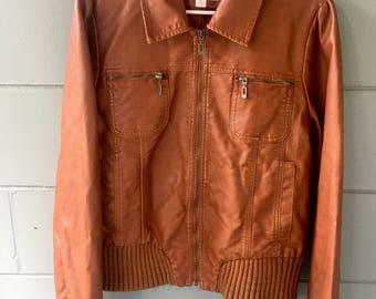 Womens brown leather jacket sz xl