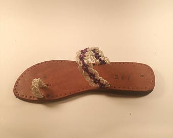 Purple and White Woven Toe Sandal Size 8