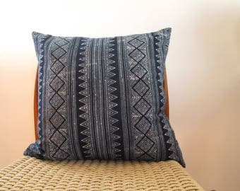 Indigo Batik, Hmong, Hill Tribe, Jungalow, Boho, Pillow Cover