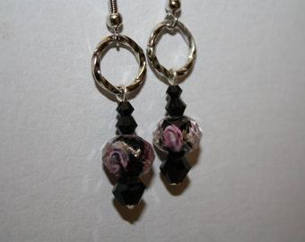 Pink Rose Earrings Handmade Cut Glass Black Pink Petite Lampwork Mother's Day