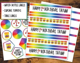 Rainbow Play-Doh Party Theme Printables