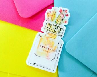 Waterproof Cactus Tory Burch Stickers, Tory Burch Perfume Bottle, Iphone Stickers, Ipad Stickers, Vinyl Sticker