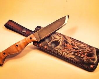 Custom, handmade 1084 HC steel hunting / survival / bushcraft knife with hand filework. Comes with a very custom handmade sheath