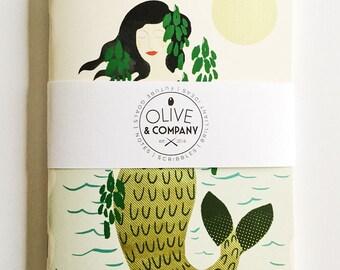 Mermaid 5 x 7 blank journal   50 pages   sketchbook   notebook   memo journal