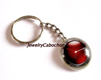 Key ring cabochon, clock, watch, clock, 20mm, red