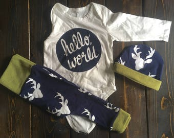 Boys hello world outfit for winter