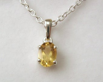 Genuine SOLID 925 STERLING SILVER November Birthstone Citrine Pendant