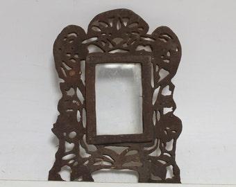 Antique Primitive Old Handmade Wooden Picture Frame
