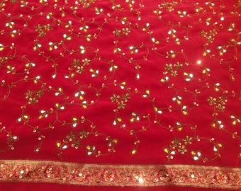 Indian Bollywood Saree,  bordeaux colour, with Sequims and Crystal Stones (used)