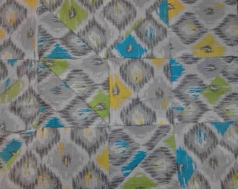 QUILT TOP ONLY Modern Quilt Design Green Blue Yellow Lap Quilt Top Baby Blanket Baby Quilt Top contemporary quilt diamond triangle quilt