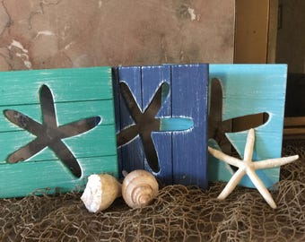 Starfish Beach Wall Art Coastal Decor Shabby Chic
