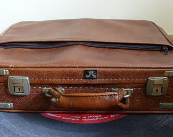 Vintage faux leather storage case box box french Old camel leather suitcase Brown bohemian