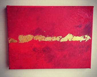 Red ruby canvas oil painting with gold leaf. Size H18×W24cm