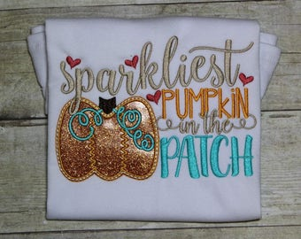 Pumpkin Patch Shirt, Halloween Pumpkin Shirt, Fall Pumpkin Shirt , Girls Pumpkin Shirt, Sparkliest Pumpkin Shirt,