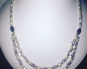 Genuine pearl and amethyst necklace with 925 silver findings.