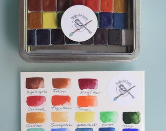 Complete Watercolor Handmade Set of 24 HALF pans of our non toxic watercolor paint kit - Comes with Tin and Waterbrush