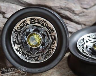 "Ear Plugs  gauges 1 5/8"" garnet 42mm gauges FREE SHIPPING - Ebony Wood Silver and Green Garnet - 1 Pair - Double Flared - Handmade"
