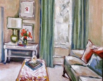 "Original oil painting, Green Room, 1703216, 12""x9"""