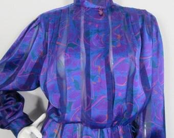1980s SEMI SHEER Purple Blue DRESS by Cin Fashions-Uk 10 Vibrant, Power Dressing