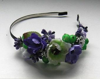 Violet floral crown Flower headband Hair Vine Bridal headband Flower crown Flower wreath Hair band Headwear Festival Garland Wedding circlet
