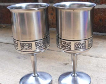 Wine Goblet Stainless Steel Wiltshire Pair Vintage