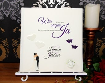 Photo album/guestbook hardcover in book binding * personalized with name * 30 x 31 cm * in colours