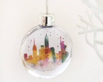 New York Bauble, Christmas tree decoration of New York, New York Skyline, abstact watercolour painting