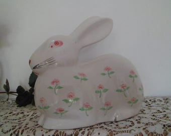 Rabbit flowered ceramic, Easter decoration, table decoration