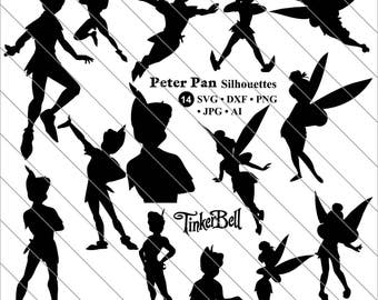 Peter Pan svg, Peter Pan Tinkerbell Silhouettes Clipart, Tinkerbell SVG Cut File,DXF,PNG Use with Silhoutte Studio & Cricut Instant Download
