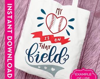 Commercial svg, Baseball svg, Baseball mom svg,  My heart is on that field svg, Baseball heart svg, baseball love svg, baseball mama svg