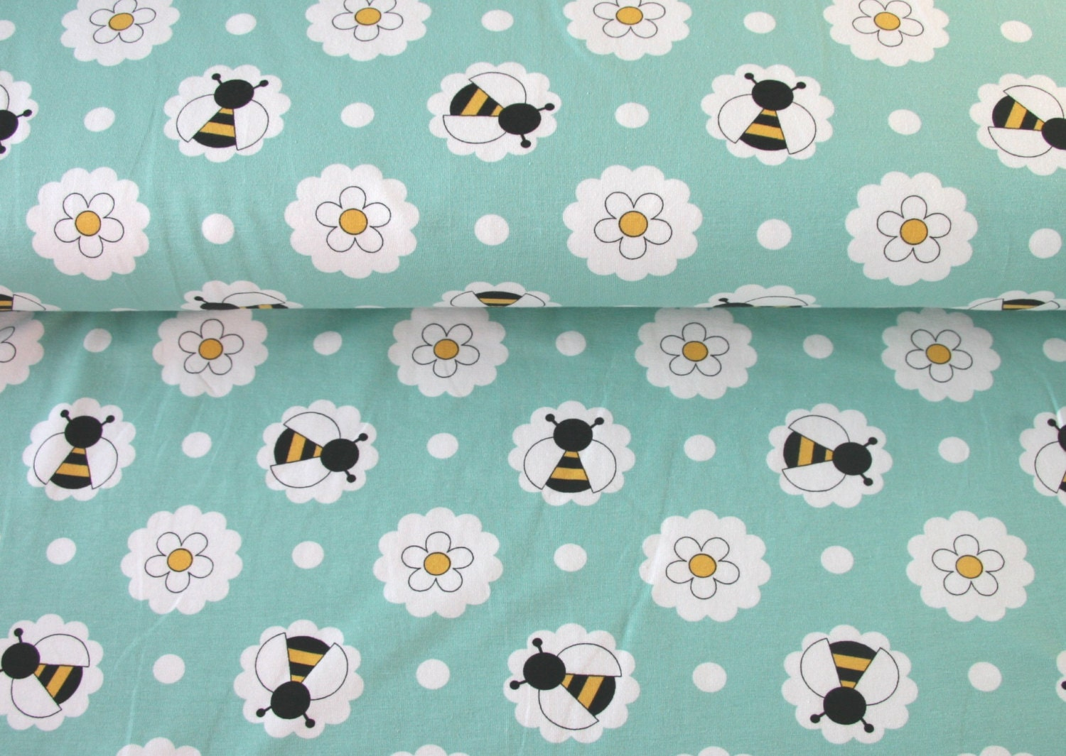 Flowers and bees jersery children 39 s fabric children 39 s for Children s jersey fabric