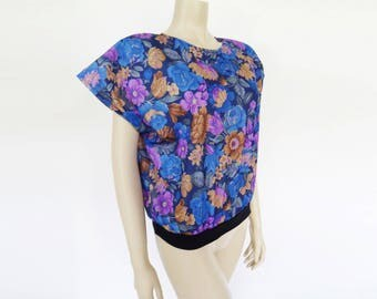 Vintage Top, Boho, Small, Floral Prints, Frida Kahlo, Blue Top, Festival Clothing, Peasant Top, Flowers, Hippe Top, Hippy, Gypsy, Clothing
