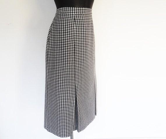 Vintage Pencil Skirt Checked Scottish Tweed Vintage