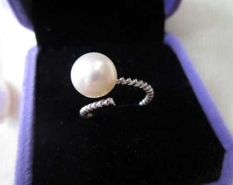 Freshwater white pearl 925 sterling silver twisting ring 8-9mm size adjustable