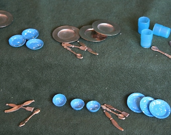 Miniature Metal & Blue Enamel Dishes, Silverware, and Blue Plastic Cups, 3 Complete Place Settings Plus