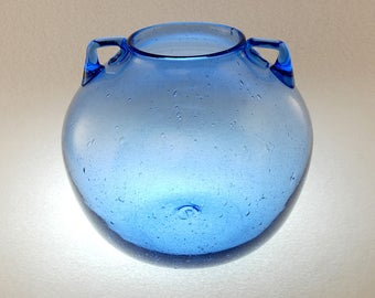 Blenko Pre-Designer # 68 Handled Sky Blue Vase, 1930s - 1950s Hand Blown Neoclassical Round Blue Glass Vase, Small Handles, Rough Pontil