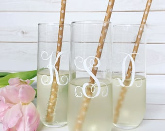Personalized Champagne Flutes | Set of 4 Glasses | Custom Champagne Flutes |
