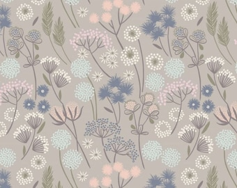 By The HALF YARD - Make Another Wish by Lewis and Irene, Pattern #A57.5 Hedgerow Flowers on Natural, Pastel Floral on Light Gray