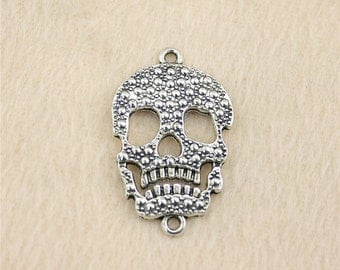 4 Skull Connector Charms Antique Halloween Charm Bracelet Bangle Bracelet Pendants #84