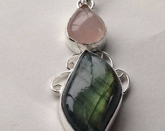 Labradorite and Rose Quartz Handcrafted Elegant Necklace Pendant with Beautiful Fire one-of-a-kind FREE shipping in the US