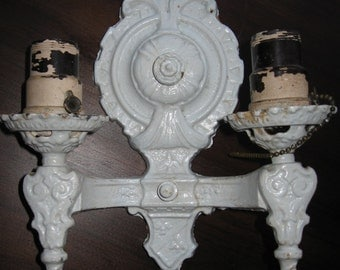 Vintage 1949 Heavy Cast Iron Dual Light Fixture