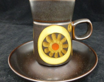 Denby Arabesque brown stoneware Coffee cup and saucer - 4 inch high - Hand painted - Made in England – retro and collectible.