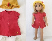 """Red Romper Dress, Yellow Crochet Hat & Jelly Sandals, Pleasant Company Culottes Outfit, Fits American Girl or other 18"""" Dolls, Vintage 90s"""