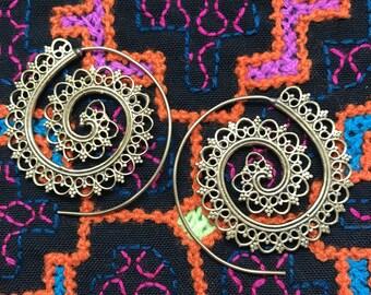 Tribal Mini Heart Spiral Earrings in Brass