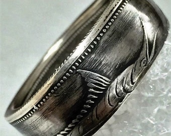 Blue Marlin Handmade .800 Silver coin ring 1966-73 Bahamas 50 cent. sizes 5-11