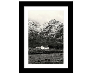 Framed print of Lagangarbh Cottage at Buachaille Etive Mor mountain monroe scotland highlands Scottish art photography giclee glencoe snow