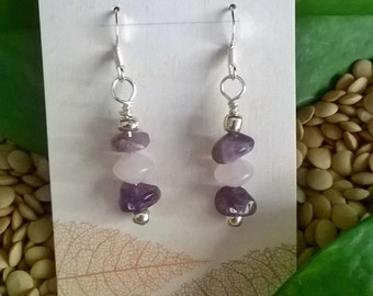 SALE - Amethyst & Rose Quartz  Earrings, Healing Stones, Pink and Purple Earrings, Chakra Jewelry, Stone Healing Jewelry, Summer Jewelry