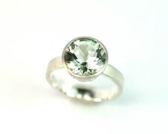 Ring Prasiolith Silber Palladium Unikat Schmuckdesign hand made in Germany