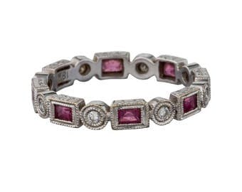 18k diamond and pink sapphire eternity band