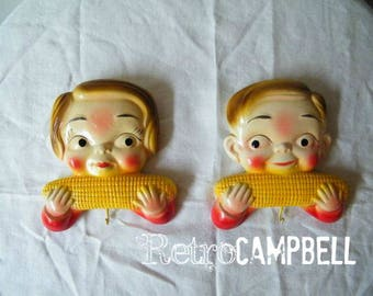 Vintage 1950's Campbell Kids™ Girl & Boy Eating Corn Chalkware Wall Plaques with hooks by Miller Studio